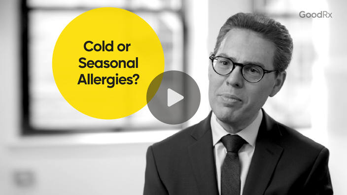 """Black and white portrait of a man with video play button overlaid and a round yellow circle with the text """"Cold or Seasonal allergies?"""