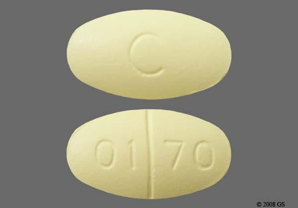 Yellow Oval 01 70 And C - Oxaprozin 600mg Tablet