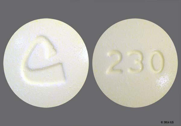 Yellow Round 230 And Logo - Oxycodone Hydrochloride/Acetaminophen 10mg-325mg Tablet