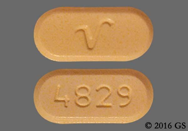 Yellow Oblong V And 4829 - Oxycodone Hydrochloride/Acetaminophen 10mg-325mg Tablet