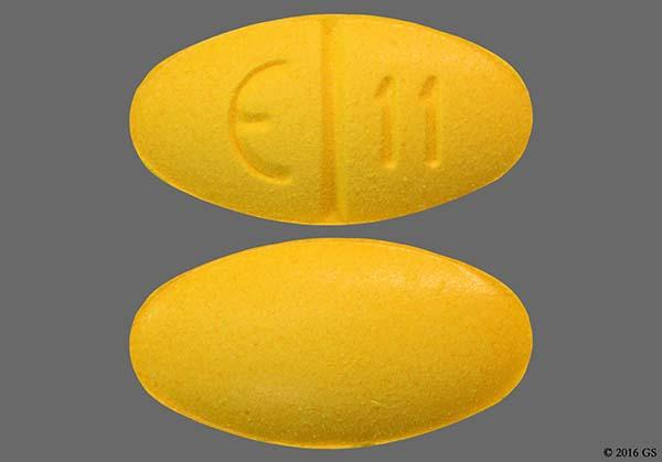 Yellow Oval E 11 - Sulindac 200mg Tablet