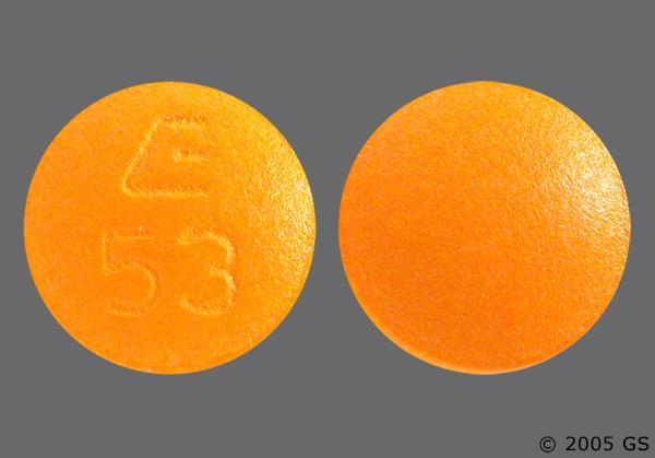 Orange Round E 53 - Benazepril Hydrochloride 10mg Tablet