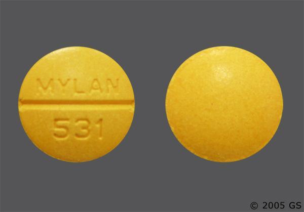 Yellow-Orange Round Mylan 531 - Sulindac 200mg Tablet