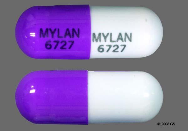 Blue And Purple Mylan 6727 Mylan 6727 - Zonisamide 100mg Capsule